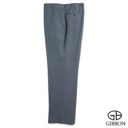 GIBBON 大尺碼細條紋雅致平口西裝褲‧銀灰