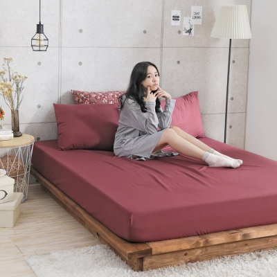 GOODDAY-花火(紅)-纖絨棉-防蹣系列-床包 (150x186cm)