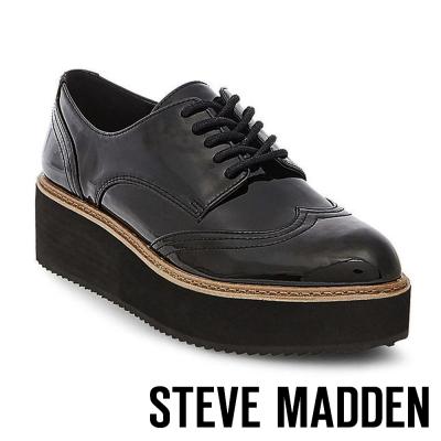 STEVE MADDEN-LYDIA-BLACK-漆皮牛津厚底鬆糕鞋-黑色