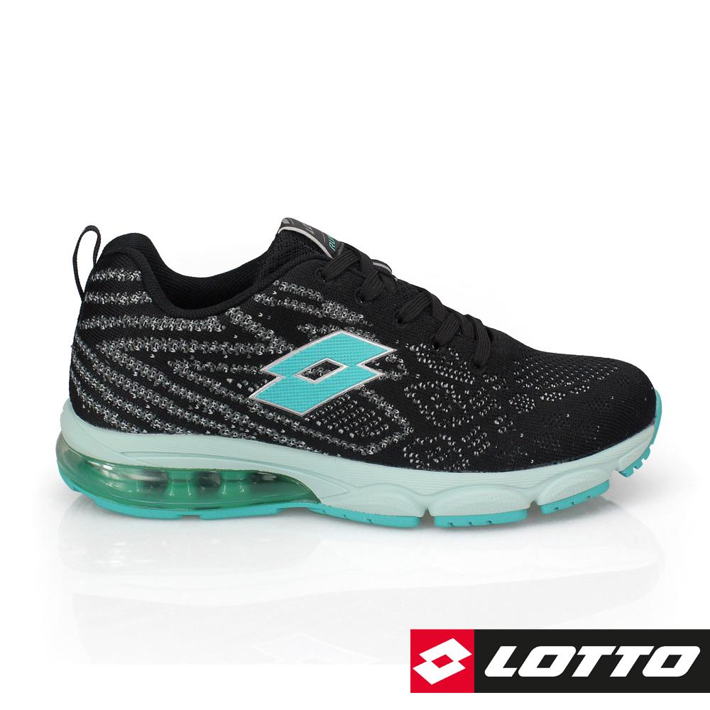 LOTTO 義大利 女 編織氣墊跑鞋3  (  黑/湖水綠)