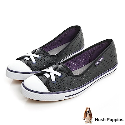 Hush Puppies 涼感沖孔咖啡紗皮質娃娃鞋-黑/紫