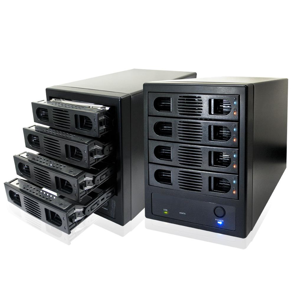 伽利略 USB3.0 + eSATA 4bay 抽取式硬碟外接盒