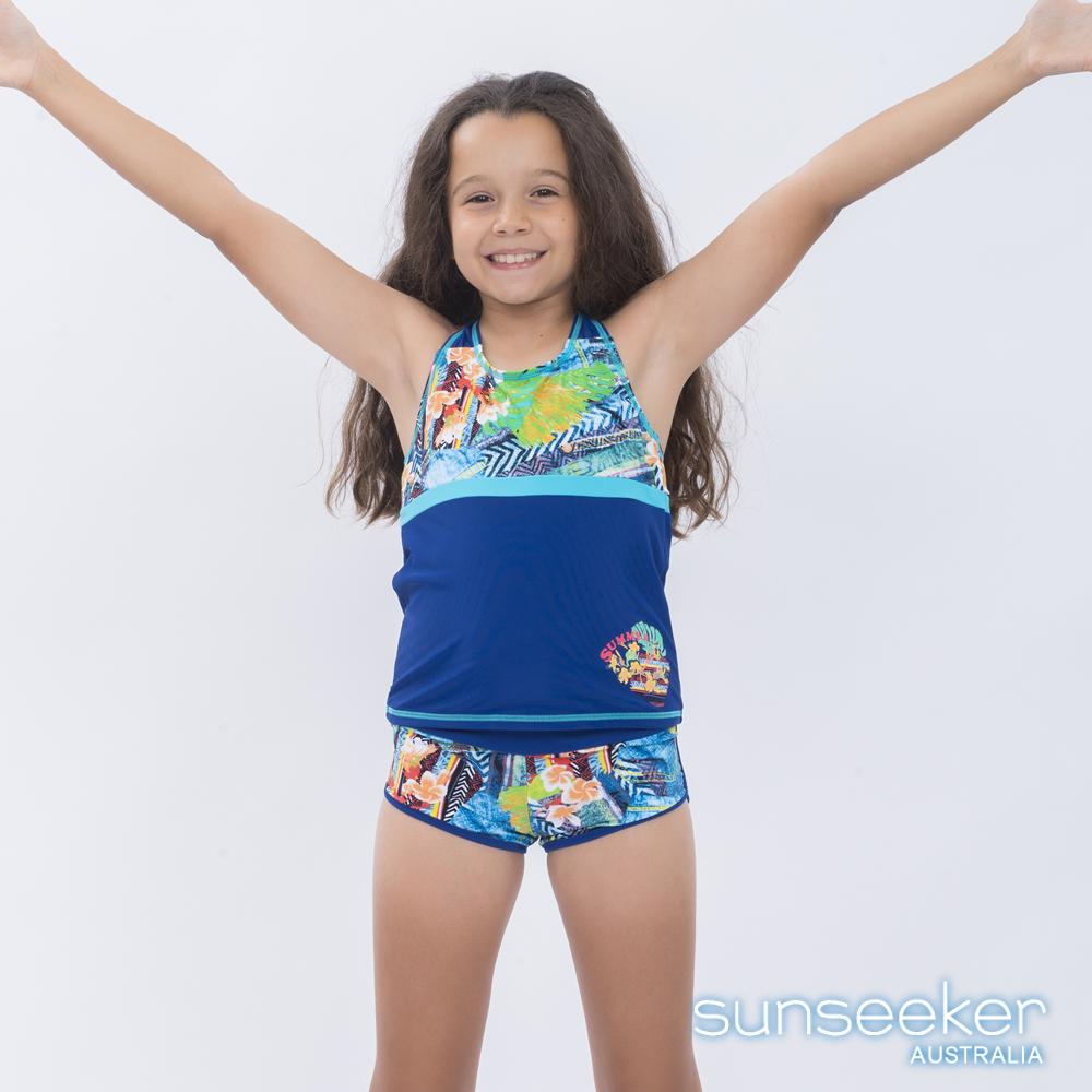 澳洲Sunseeker泳裝大女童抗UV防曬牛仔花朵兩件式泳衣