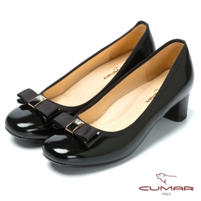 CUMAR粉領時尚 舒適鞋楦真皮高跟鞋-黑