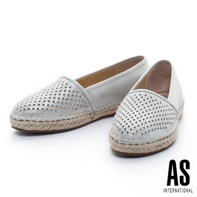 AS-菱格打洞晶鑽羊皮草編厚底休閒鞋-銀