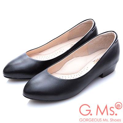 G.Ms.小資X麻吉-MIT小尖頭牛皮低跟包鞋-I款黑色