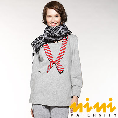 《nini專櫃孕婦裝》斜紋蝴蝶結領造型秋冬哺乳衣-灰(FNT02)