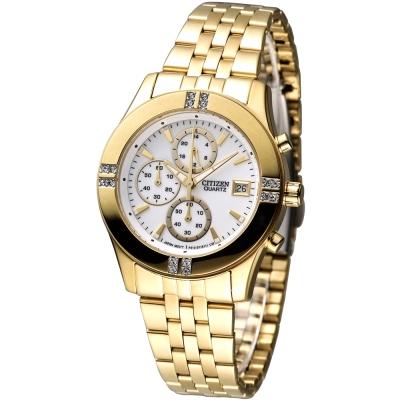 CITIZEN 氣質仕女3眼計時晶鑽腕錶(FA1042-56A)-IP金/35mm