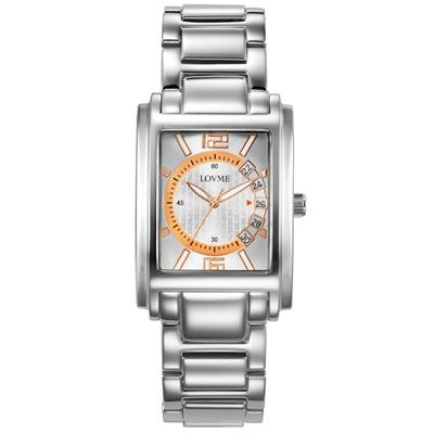LOVME 旅行時光設計腕錶-銀色玫瑰金刻度/32mm