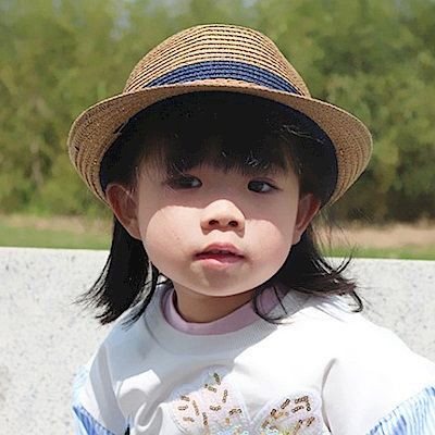 iSFun 優雅紳士 雙色兒童編織遮陽草帽 卡其