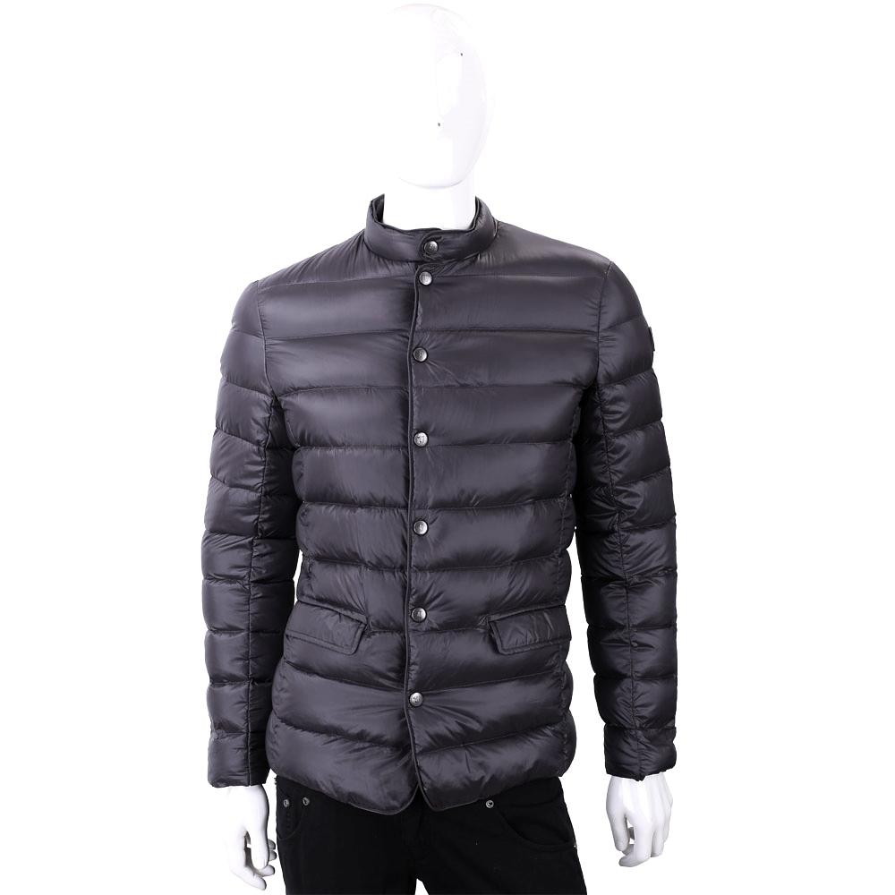 TRUSSARDI 絎縫炭黑色立領拉鍊釦式輕羽絨外套