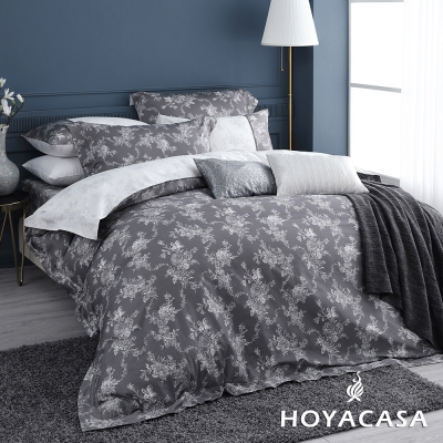 HOYACASA香榭麗舍 加大六件式300織長纖細棉兩用被床包組-贈舒眠枕2入