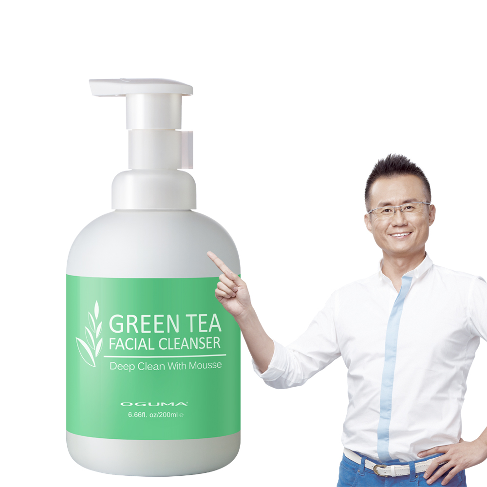 OGUMA水美媒 綠茶彈力潔顏慕絲200ml x1瓶