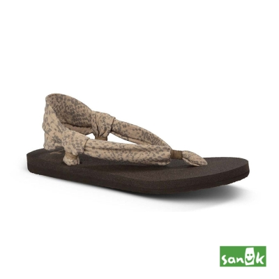 SANUK 豹紋金絲綁帶涼鞋-女款(米色)