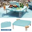 【日本鹿牌】日製CielCiel日式摺疊野餐桌-天空藍