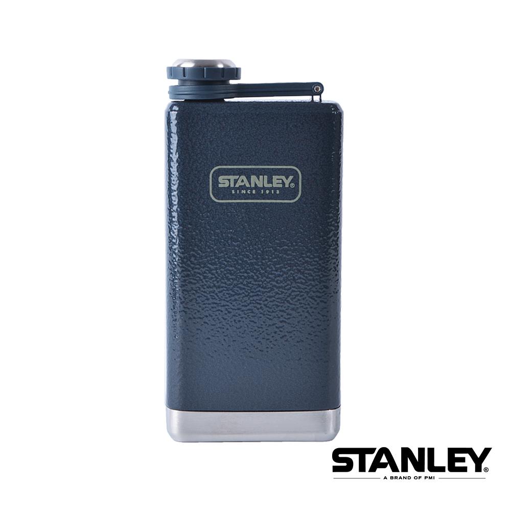 美國Stanley 不鏽鋼保溫瓶 SS Flask經典酒壺 0.24L 錘紋藍