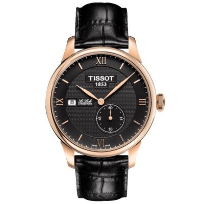 TISSOT Le Locle 力洛克 獨立秒圈機械腕錶-黑x玫塊金/39mm