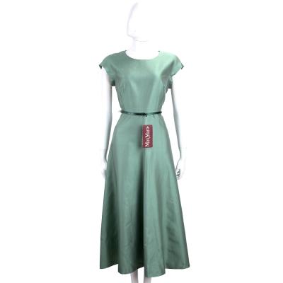 Max Mara 復古綠泰絲混紡包袖洋裝(附腰帶)