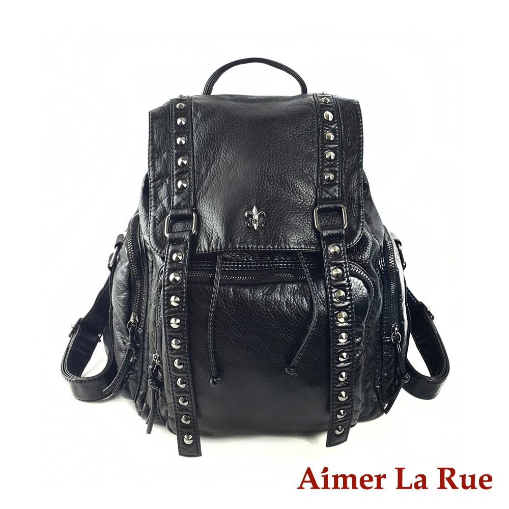 Aimer La Rue 後背包 水洗韓版雅痞系列(黑色)