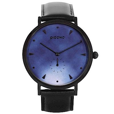 PICONO A week 系列 渲染簡約黑色真皮錶帶手錶 / AW-7601