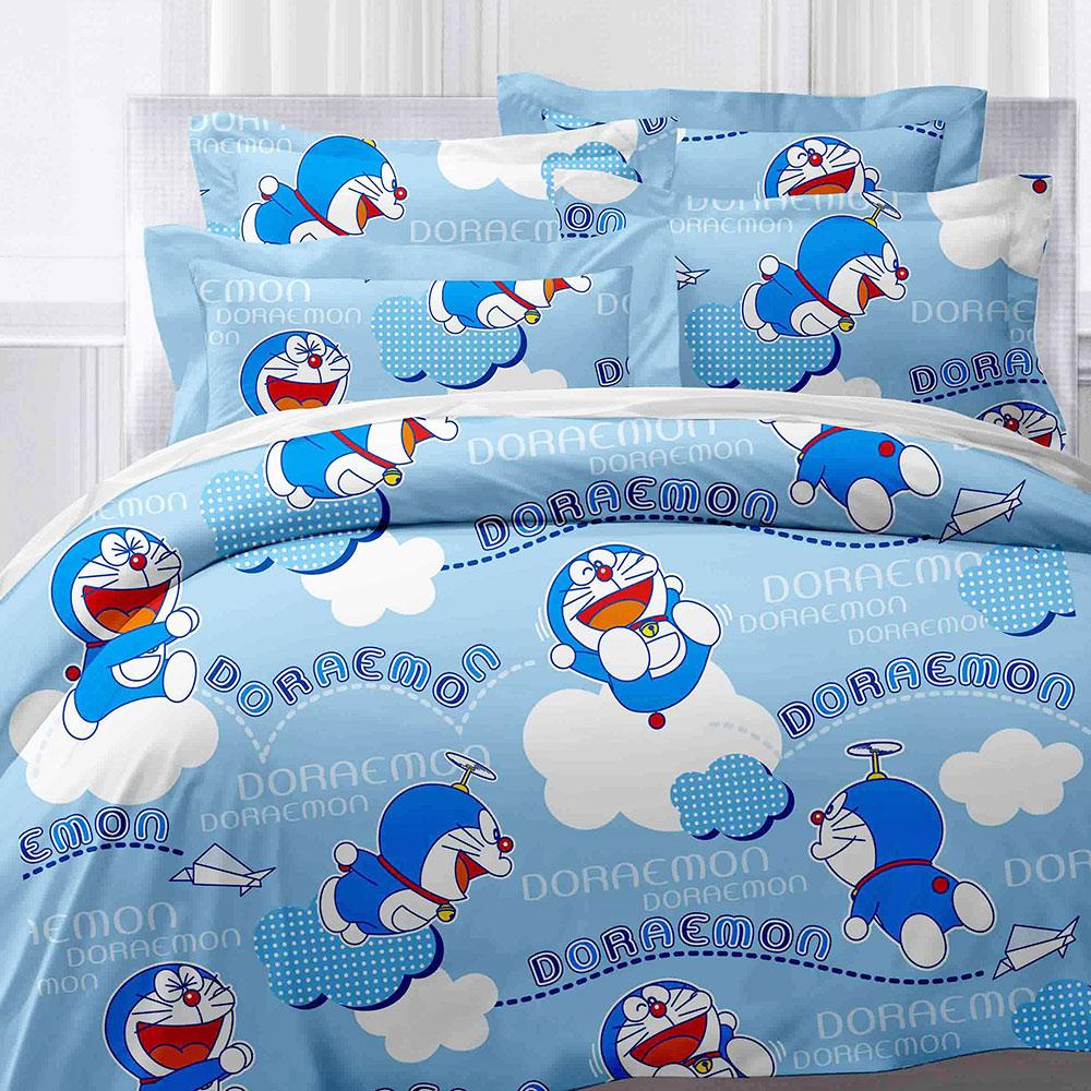 享夢城堡 精梳棉雙人床包兩用被套四件組-哆啦A夢DORAEMON 飛飛樂-藍.棕