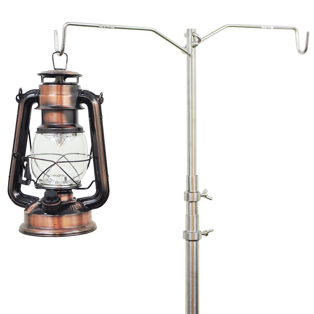 迪伯特DIBOTE 不鏽鋼伸縮雙吊勾營燈柱 露營燈架.露營燈架 自撞槌/咚咚咚
