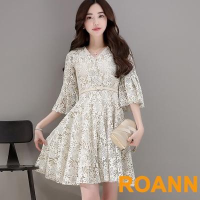 V領荷葉袖蕾絲洋裝(杏色)-ROANN