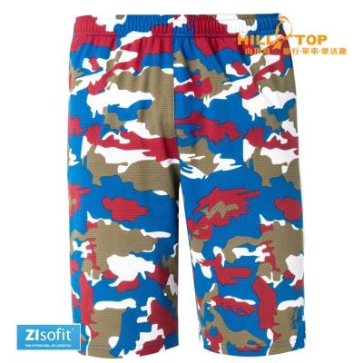【hilltop山頂鳥】男款ZIsofit吸濕排汗彈性短褲S09M66深水藍迷彩