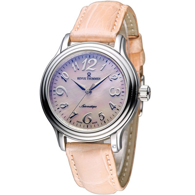 梭曼 Revue Thommen Ladies 優雅自信機械腕錶-粉橘/34mm