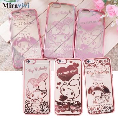 三麗鷗iPhone6/6s Plus時尚質感電鍍雷雕保護套-美樂蒂