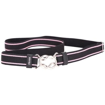 PRADA 銀色釦環雙色條紋彈性腰帶(黑x粉)