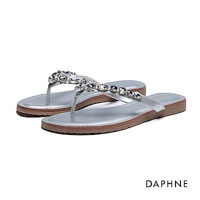 達芙妮DAPHNE 拖鞋-寶石鑽飾夾腳拖鞋-銀