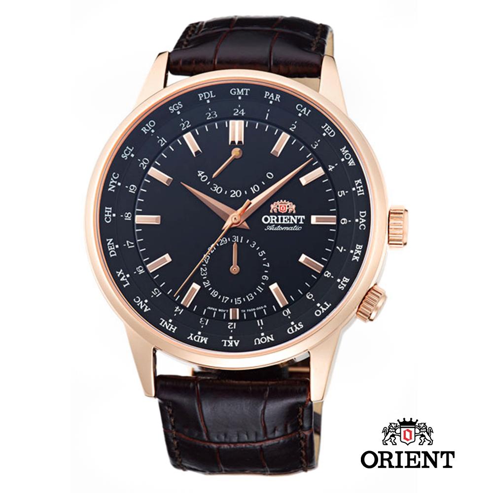 ORIENT 東方錶 WORLD TIME系列 世界時間機械錶-玫瑰金/44mm