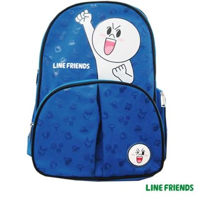 【LINE FRIENDS】護脊書背包(藍_饅頭人_LI-5579)