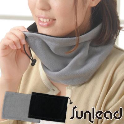 Sunlead 雙面可戴。保暖防風兩用式Fleece軟帽/脖圍 (黑色/銀灰色)