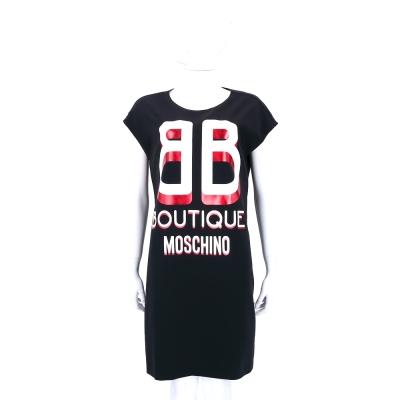 BOUTIQUE MOSCHINO 黑色字母短袖棉質洋裝