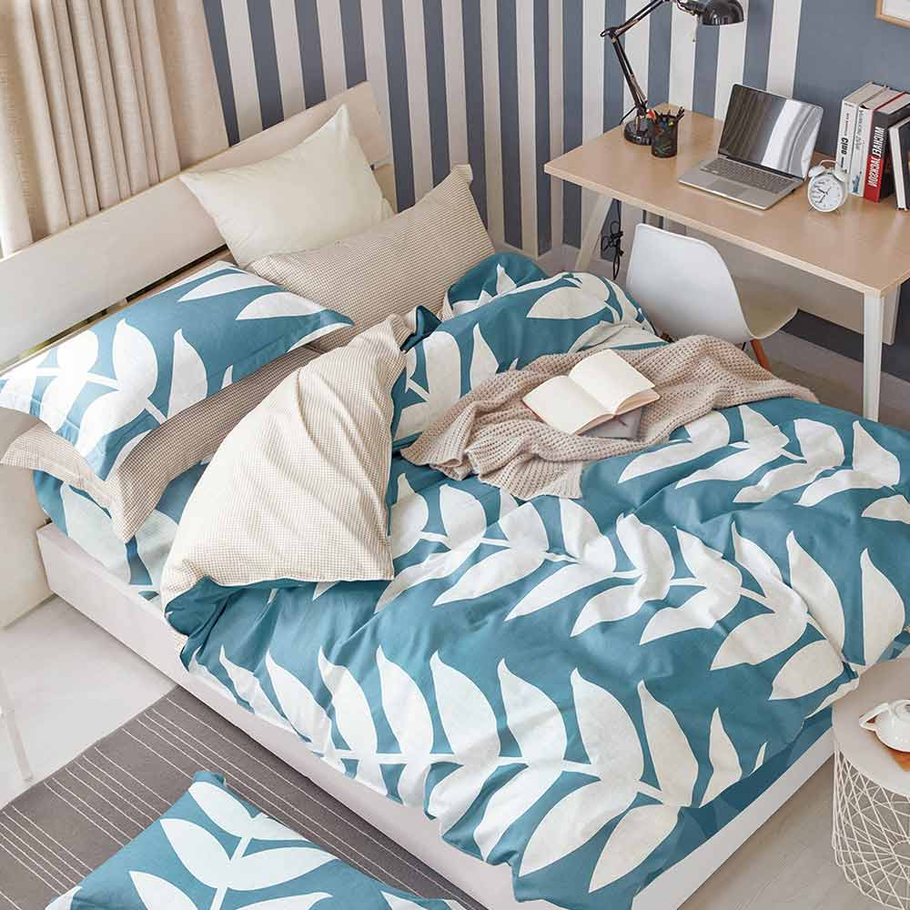 Ania Casa 台灣製 100%純棉 - 加大床包被套四件組 - 心香花語-藍