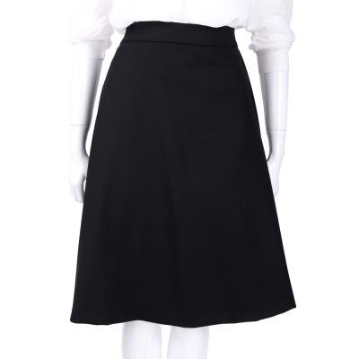 Max Mara-SPORTMAX 黑色羊毛素面及膝裙(97%LANA)