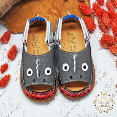 WhiteAngel天使童鞋-I600A頑皮鯊魚造型兩用涼鞋-灰