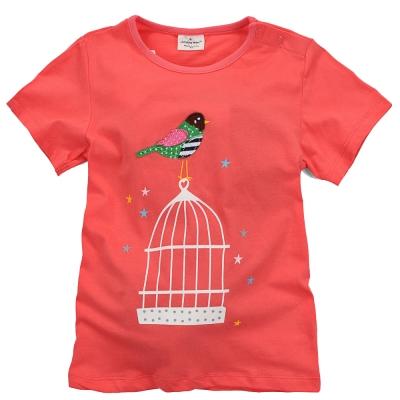 歐美風格設計 小童女童短棉T居家外出 小鳥家 磚紅