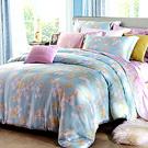 Saint Rose 暖玉生香-藍綠 雙人100%純天絲全鋪棉床包兩用被套四件組