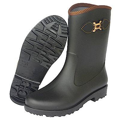 MIT一體成型減壓中筒晴/雨兩用鞋(時尚黑)J-269