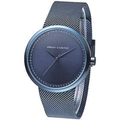 A│X Armani Exchange米蘭時尚雅致晶鑽女錶-靛藍(AX4504)/38mm
