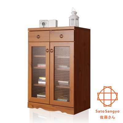 【Sato】PISTRO巴黎公寓二抽二門玻璃櫃‧幅59cm-DIY