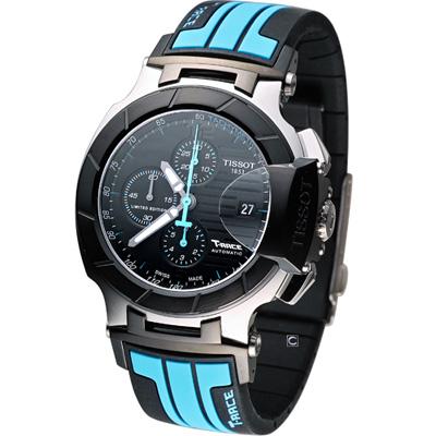 TISSOT 天梭 T-RACE競速系列計時腕錶-黑x藍/45mm
