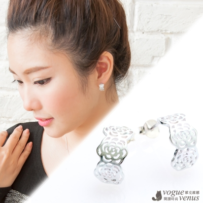 維克維娜 甜心伶。鏤空山茶花寬版小C圈耳環