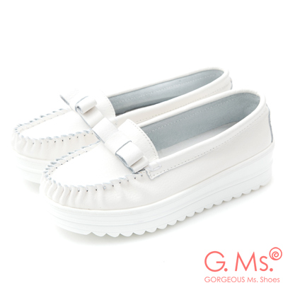 G.Ms. 牛皮莫卡辛厚底鬆糕蝴蝶結鞋C款-白色