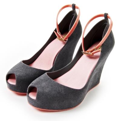 Melissa-復古厚底絨毛魚口鞋-灰