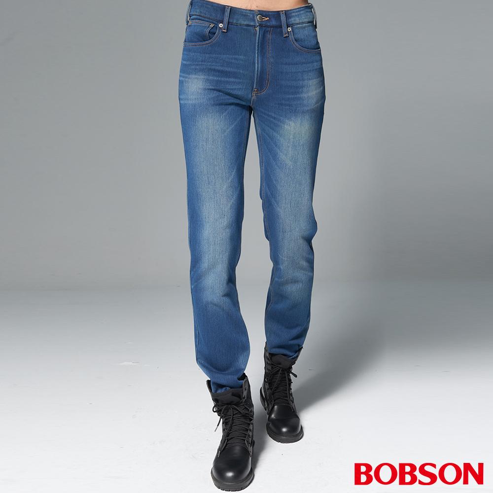 """BOBSON 男款1971""""日本進口黑標中藍刷白保暖褲"""