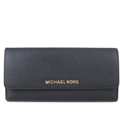 MICHAEL KORS JET SET TRAVEL金字Logo全皮革薄型長夾(黑色)